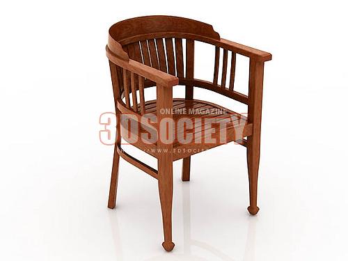 3D модель Кресло деревянное