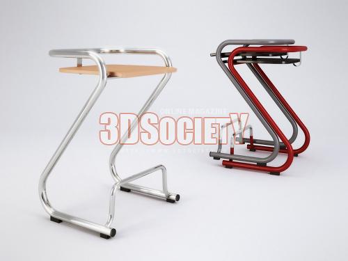 3D модель  Lammhults S70-3 Stool