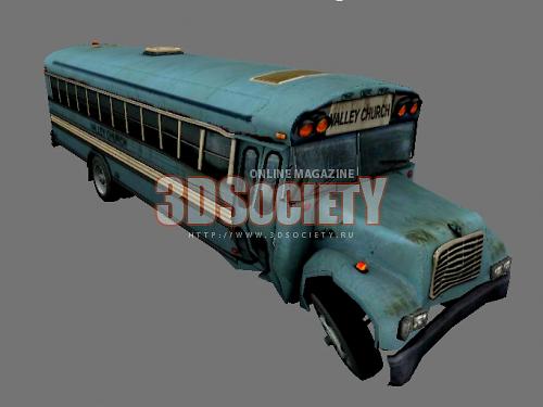 3D модель  разбитый автобус
