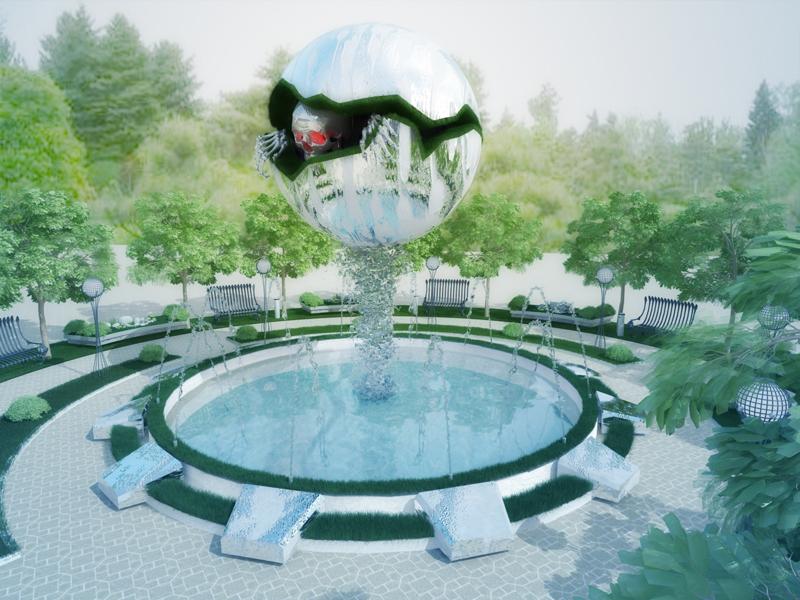 3d модель фонтан с черепом