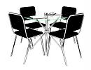3D модель  Cтол стулья хромированные