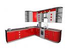 3D модель  кухня красная