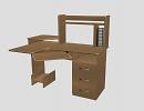 3D модель  угловой компьютерный стол